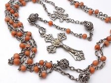 ANTIQUE FRENCH STERLING SILVER ROSARY & MEDITERRANEAN RED CORAL BEADS 19th C.