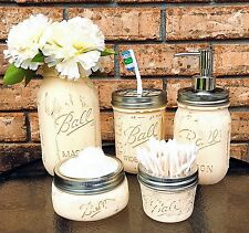 GORGEOUS 5PC. MASON JAR BATHROOM SET,RUSTIC DISTRESSED HOME DECOR,SOAP DISPENSER