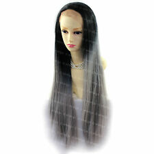Wiwigs Long Lace Front Dip-Dye Ombre Straight Black & Grey Ladies Wig
