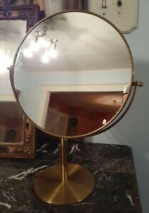 HUGE luxurious vintage Two Way Brass Vanity Mirror Mid Century Modern rare size!
