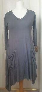 MASAI CLOTHING COMPANY Size S Grey Jersey Asymmetric Dress- Pockets, Lagenlook