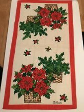 Vintage The Ryan's Fallani & Cohn Christmas Tea Towel Poinsettia