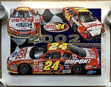 JEFF GORDON & SAM BASS Signed Autographed 22x28 Lithograph, Poster, JSA