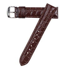 20mm Hadley-Roma Men's Croc Grain Leather Stitched Brown Watch Band Strap MS907