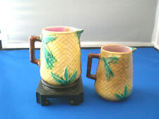 2 Antique MAJOLICA BASKETWEAVE & BAMBOO CREAM PITCHERS with 1 display stand