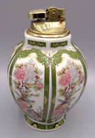 Vintage Oriental Garden Green White Porcelain Table Lighter Urn Japan 1982