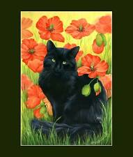 Black Cat Print Poppies by I Garmashova