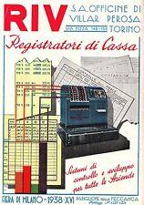 PUBBLICITA' REGISTRATORE DI CASSA RIV TORINO CALCOLI CONTROLLO SOMMATORIE 1938
