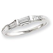 Brand New Sterling Silver Baguette-cut Cubic Zirconia Ladies 3 Stone Band Ring