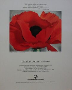 Georgia O'Keeffe Limited Edition Museum Poster Lithograph w/ Friendship Message