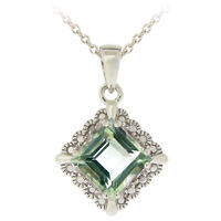 "925 Silver 2.35ct Green Amethyst & Diamond Accent Diamond Shape Necklace, 18"""