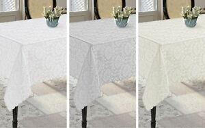 Round, Rectangular Extra Large Grey, White, Cream Polyester Tablecloths, 6 Sizes