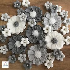 30 Silver Wedding  Bouquet Edible Grey / White  Flowers Cake Toppers Decorations