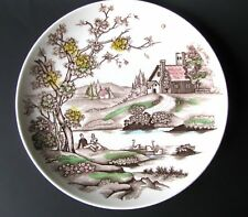 Vintage Autumn Dreams Plate Polychrome Transfer Fall Scene Thanksgiving Plate