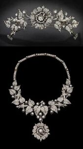 Solid Flower Leaf Style CZ Tiara Converts Necklace 925 Sterling Silver Handmade
