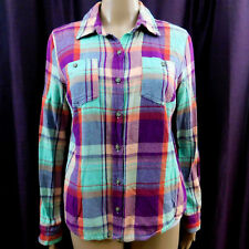 f40a6be2330 Mossimo Plaid Shirt Button Long Sleeve Cotton Purple Red Teal Blue Western  Top M