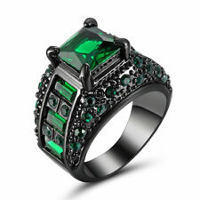 Size 7 Vintage Princess Cut Green Emerald Wedding Ring Black Platinum Plated