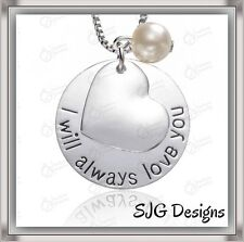 """"""" I WILL ALWAYS LOVE YOU"""" Pendant With Heart Overlay & Bead- Silver Plated -New"""