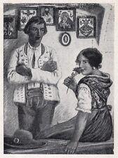 D2329 M. Gaspari - Costumi Sloveni - Stampa d'epoca - 1925 vintage print