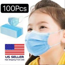 100 PCS Kids Disposable Face Mask 3-Ply Protective Mouth Cover Non Medical Child