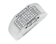 10k White Gold Multi-Rows Round Cut Genuine Diamond Wedding Band Ring 0.26ct.