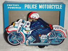 Vintage Japan 1960's Police Motorcycle PD Tin Friction Mint MIB New Old Stock