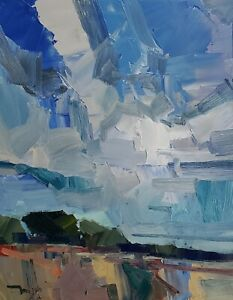 JOSE TRUJILLO Oil Painting IMPRESSIONISM 16x20 LANDSCAPE CLOUDS CONTEMPORARY