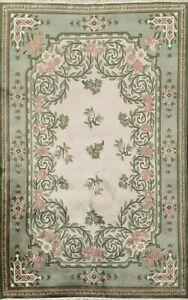Floral Nepal Tibetan Oriental Area Rug Handmade Ivory Wool Carpet Home Decor 6x8