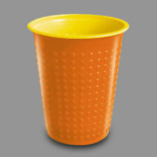 Disposable Bi-Colour Orange Plastic Party Drinking Cups 8OZ