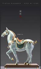 18'' top brass copper fine workmanship home decor war horse Tang horses statue