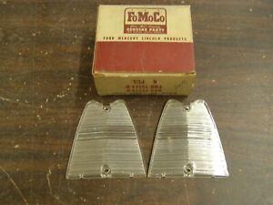 NOS OEM 1956 Ford Fairlane Backup Light Lamp Lenses - FoMoCo Script