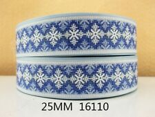 3 metres x Nordic Christmas Snowflake Blue Icy Ribbon Grosgrain 25mm