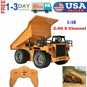 RC Metal Dump Truck Six Channel 2.4G HUINA 1540 Construction 1/18 Alloy Toy Kid