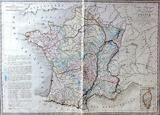 CARTE PHYSIQUE FRANCE / Frankreich -  Teil-Color.Kupferstich 1837 THIERRY,PARIS