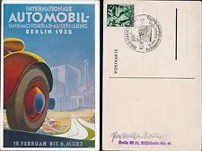 1938 Berlin Germany Art Deco Postcard Cover Car Show Cancel