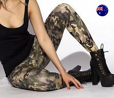 Women Army Military Camouflage Green Camo Skinny Stretch Leggings Pants Trousers