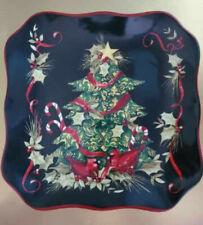 "Certified International Christmas Plate Cardinal Tree 8.5"" Black  Scalloped Edge"