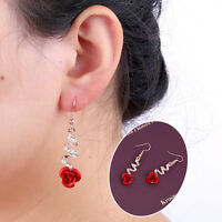 Elegant Women Gold Crystal Red Rose Flower Earrings Hook Dangle Drop Jewelry FT