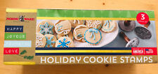 Nordic Ware Holiday Cookie Stamps 3 Stamp Set - Wreath Gift Tag Snowflake
