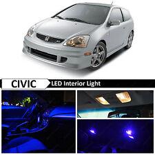 7x Blue LED Lights Interior Package Kit for 2001-2005 Honda Civic SI EP3
