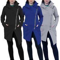 Fashion Women Winter Irregular Zipper Blouse Hoodie Shirt Coat Outwear Tops UK