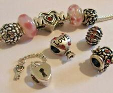 9 Dark PINK Mix MUM Charm Set  Charm Bracelets Necklaces European Mothers Day