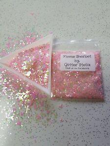 Nail Art Mixed Glitter Mix ( Minnie Sherbet) 10g Bag Chunky Minnie Mouse  Pink