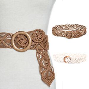 New Vintage Wide Bohemian Belts Women Round Wood Buckle Female Casual Dress _3C