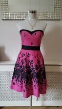 Jane Norman Black Pink Ladies 50's Rockabilly Skater Party Occasion Dress size 8