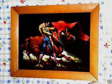 BULLFIGHTER Oil On Felt pablo j.castaneda Mexico Signed,painting,yazmin curios.