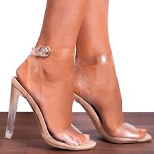 NUDE PATENT CLEAR PERSPEX STILETTOS ANKLE STRAP STRAPPY SANDALS HIGH HEELS SHOES