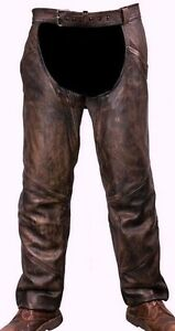 MOTORYCLE RIDERS PANT MEN'S DISTRESSED BROWN TWO POCKET THERMAL LINED CHAP