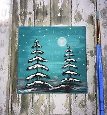 Original Art painting  Miniature. landscape 3x3 Trees Moon acrylic ,canvas