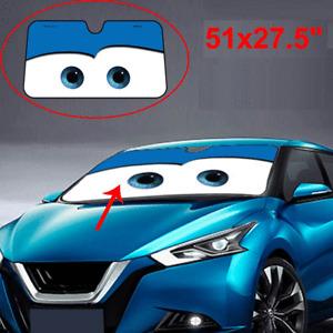 Cartoon Big Eyes Windshield Sunshade Aluminium Foile Car Window Visor Cover Blue